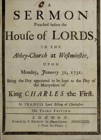 Cover of: A sermon preached before the House of Lords, in the Abbey-Church at Westminster, upon Monday, January 31, 1731 | Francis Hare, Bishop of Chichester